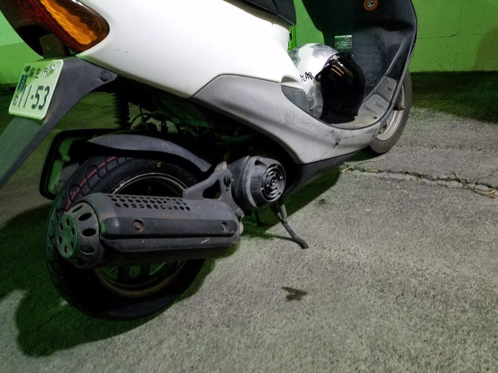 タイヤ交換完了後のディオ