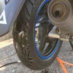 バイクタイヤの外面修理