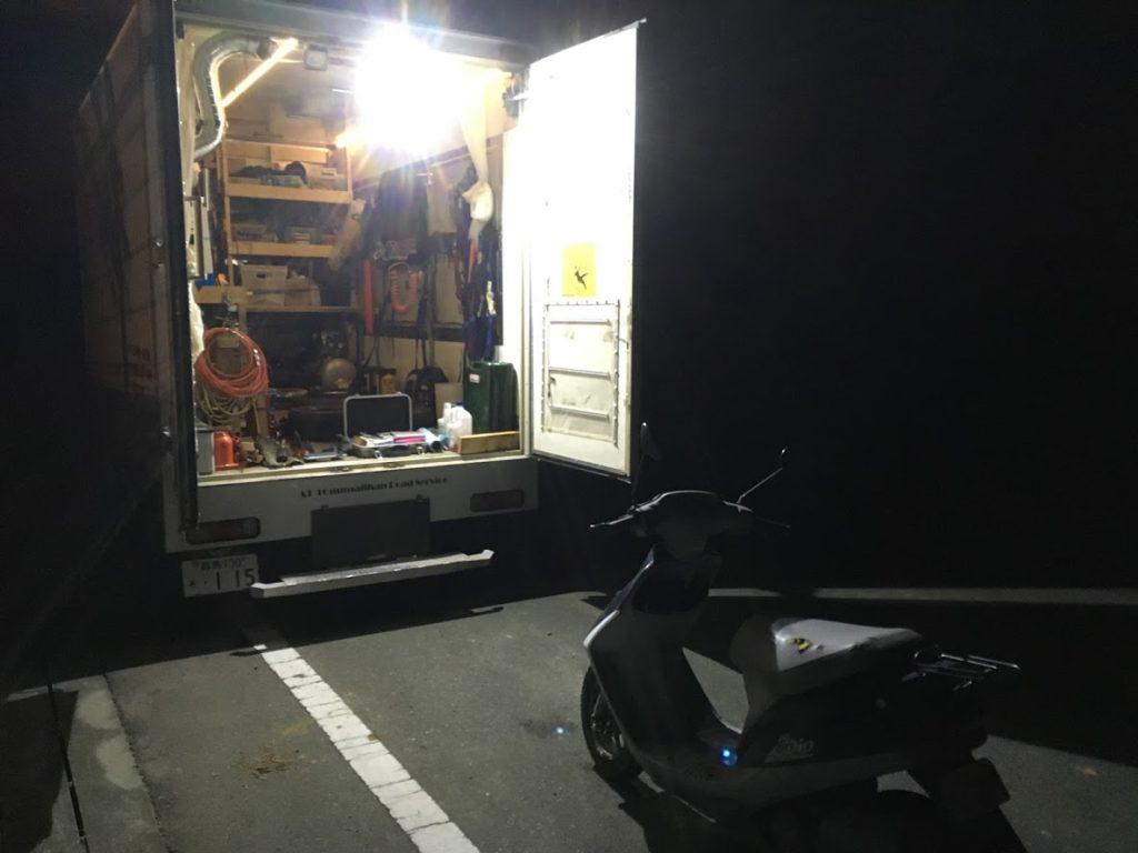 夜間の出張タイヤ交換